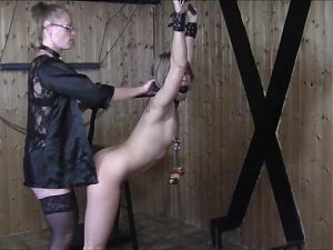 Worthless dumb German blonde cunt bound and fucked