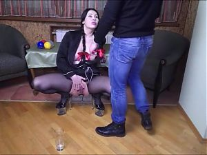 Hot brunette humiliated pissed fisted and used by Master