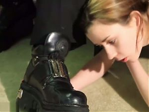 Slave has to clean her masters boots