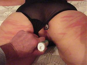 Tied plug in ass and masturbated with electrical tooth brush